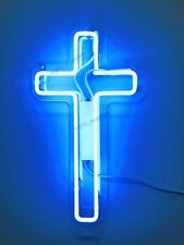 "New Jesus Cross Blue Neon Sign Acrylic Gift Light Lamp Bar Wall Room 15""x8"""