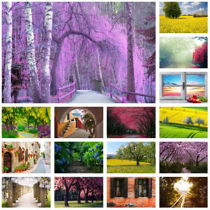 Spring Blossom Wall Background Prints Photography Backdrop Cloth Flower Road