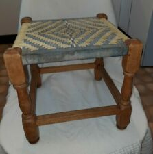 Vintage Retro Wooden Foot Stool with Blue & Yellow Woven String Seat.