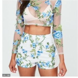 MISSGUIDED Floral Mesh Embroidered Shorts in White (jo62)