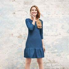 AVON Ladies Womens Summer Denim Ruffle Tunic Dress Above Knee Size 10 12 22 24