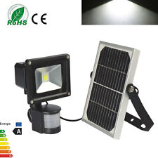 10W Solar Powered Motion Sensor Security LED Flood Light Cool White Spot Lamp