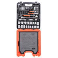 """BAHCO S106 1/4"""" & 1/2"""" 106 Piece Socket,Ratchet & Combination Spanner Set + Case"""