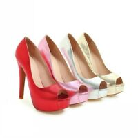 New Women Peep Toe High Stiletto Heel Slip On Platform Pump Shiny Party Shoes