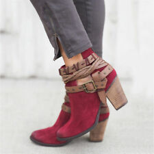 Womens Ladies Ankle Boots High Block Heel Buckle Zip Up Casual Beach Shoes Size