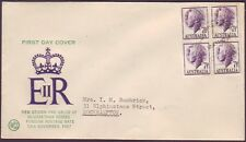 1957 7-1/2d QEII BLOCK OF 4 ON WESLEY FIRST DAY COVER - NEAT ADDRESS (RU2827)