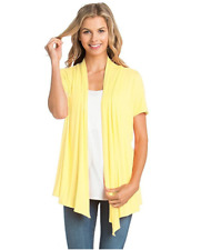 46beb12877 Womens Solid Short Sleeve Cardigan Open Front Wrap Vest.