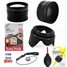 HD WIDE ANGLE LENS + TELEPHOTO ZOOM LENS +16GB FOR CANON EOS REBEL T3 T3I T1 T2