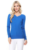 YEMAK Women's Long Sleeve V-Neck Basic Soft Knit T-Shirt Pullover Sweater MK5501