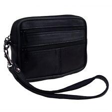 Black Leather 2 Zips Belt Wrist Purse Man Bag by OakRidge Leather Handy