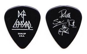 Def Leppard 4 Signatures Black Guitar Pick - 2006 Tour Joe Phil Vivian Rick