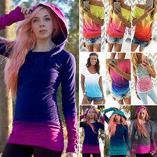 Womens Tie Dye Long Short Sleeve T-shirt Hoodies Sweatshirt Jumper Blouse Top 12