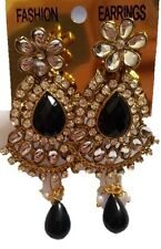Gold Tone Statement Earrings Clear Rhinestone Studded Black Faceted Beads New