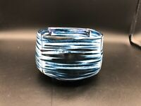 """Vintage Victoria Crowell Studio Art Pottery Blue Round Square Bowl, 3 1/2"""" Tall"""