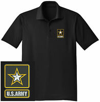 NEW US Army Embroidered Moisture Wicking DRYFIT Black Polo Shirt -Free Shipping!