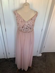 QUIZ BLUSH SEQUIN EMBELLISHED LONG  MAXI EVENING OCCASION  PROM DRESS GOWN Sz 16