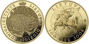 "Lithuania 100 litu 2008 km#156 ""Millennium of name of LITHUANIA"" AU Gold PROOF"