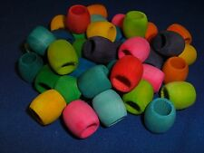 "5/8"" Wood Barrel Beads 3/8"" hole 50 pcs  Assorted Colors DIY Bird Toy Part"