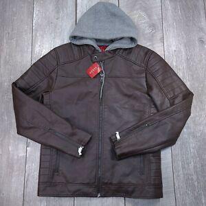 GUESS Danny Hooded Moto Faux Leather Jacket Mens Medium Brown Zip Off Hood