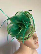 Green Hair Clip Fascinator Wedding Ladies race Day Accessories