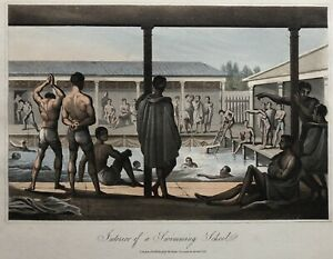 Interior of a Swimming School (Young Men), Paris 1822 Hand-colored Engraving 1st