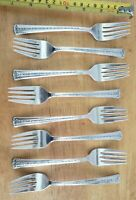 LOT OF 8 MID CENTURY VINTAGE 1954 SPRING BOUQUET 💐 SILVERPLATED SALAD 🥗 FORKS
