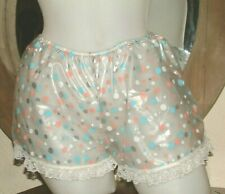 AB ~SISSY SEXY PVC CLEAR  POLKA DOT LACE FRENCH KNICKERS SIZE M