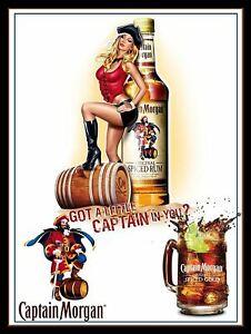 CAPTAIN MORGAN SEXY PIN UP   Retro Metal Plaque/Sign, Pub, Bar, Man Cave,
