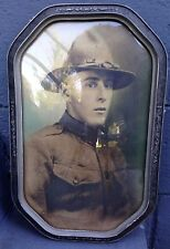 WWI Named Infantry Soldier`s Framed Photo, Campaign Hat & Veteran Fob Lot
