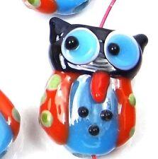 Lampwork Handmade Glass Lovely Owl Beads (4) - Blue Red