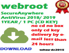 Webroot Secure Anywhere AntiVirus 2019 1YEAR / 1 PC (CD KEY)