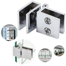 4x Wall to Glass Clamp Clip Hinge For Bathroom Glass Door 90 Degree Angle