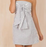 NWOT Gorgeous Striped Front Tie Strapless Dress Sz M