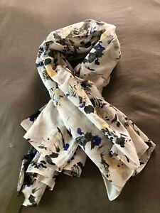ALLSAINTS Women's Fleurir Pareo Cotton/Silk Scarf Yellow Purple Floral NWT