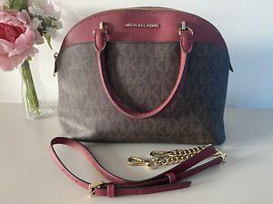 ❤️ MICHAEL KORS CINDY Signature brown leather dome satchel shoulder hand bag❤️