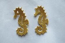 #2769 Lot 2 Pcs Gold Sea Horse Embroidery Iron On Applique Patch
