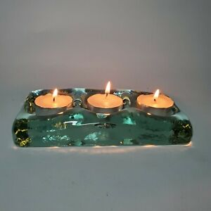 Molten Style Glass Tealight Holder 3 Slots Recycled Glass