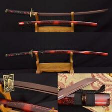 FULL TANG Japanese Samurai Sword KATANA Damascus Black&Red Steel BATTLE READY