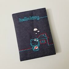 Hello Kitty Blue Jeans Journal House Hard Cover Diary Embroidered Kawaii Gingham