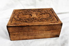 Hand Carved Tree of Life Design Wooden Box with Lid - BNIB