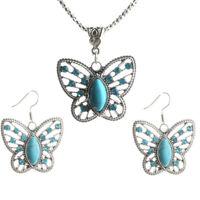 New Fashion Retro Jewelry Set Turquoise Thai Silver Bracelet Earrings Necklace
