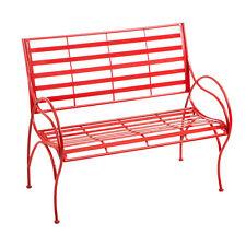 Red Swirl Metal Indoor/Outdoor Garden Bench - Free Shipping