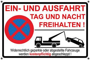 Schild EINFAHRT AUSFAHRT FREIHALTEN Aufkleber - Parkverbot Hinweisschild rot