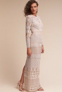 NWOT BHLDN Adrianna Papell Nevena Illusion Gown Size 8 Beaded Wedding Dress