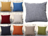 "New UK 16"" 18"" 20"" 22"" Large Plain Linen Cushion Cover Pillow Cases Home Decor"