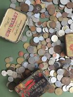 Job lot of British and World Coins in tin box ( Read Description)