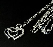 Women's 925 silver plated Crystal double heart pendant necklace Jewellery