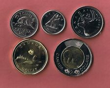 2015 CANADA 5 PIECE COIN SET UNCIRCULATED FROM MINT ROLLS CANADIAN 5¢ - $2
