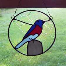 """Handmade Stained Glass 7 1/2"""" Sun Catcher  ~ Red White & Blue Bird on post  NEW"""