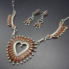 Vintage ZUNI Sterling Silver CORAL Needlepoint NECKLACE and EARRINGS Heart Set